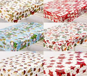1PC Waterproof PVC Christmas Tablecloth Printed Rectangular Disposable Table Cloth Transparent Table Cover Mats Kitchen QA 273