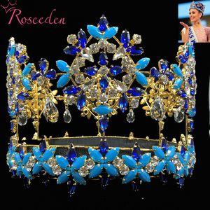 Baroque pleine ronde Miss Monde Couronne Tiara Avec Blue Crystal strass Princesse Reine Tiara RE3021 Y200727
