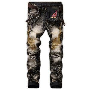 calças dos homens retro Jeans 2 buracos de jeans masculina de homens heterossexuais asas finas jeans skinny com alta qualidade bordado