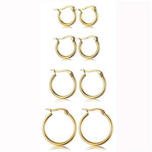 Hot Günstige Edelstahl-Band-Ohrringe 15mm-60mm übertriebene große runde Schnalle Band-Ohrring für Frauen-Schmucksache-Zusatz-Geschenk