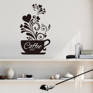 Home Decor Waterproof PVC Stickers DIY Wall Sticker Flower Coffee Cup Wall Art Decals Decoration for Kitchen Bedroom