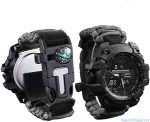 Выживание браслет Часы, Мужчины и Женщины Digital Outdoor Sports Watch, 6-в-1 водонепроницаемый Emergency часы выживания с Paracord, Whistle
