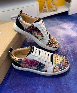 Новая дизайнерская обувь Red Bottom Junior Spikes Orlato Low Cut мужская мода квартиры кроссовки Pik Graffiti кроссовки для вечеринок лакированная кожа Wal