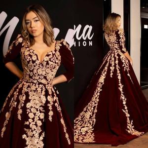 Kaftan Caftan Burgundy Velvet Evening Dresses Prom Dress Half Sleeve 2019 Gold Luxury Lace Applique Arabic Dubai Abaya Occasion Gowns