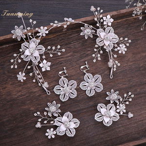 Fashion Hollow Flower Women Jewelry Set Shiny Crystal  Hair Pins Hairband Earrings Set Bride Wedding Hair Accessories XH