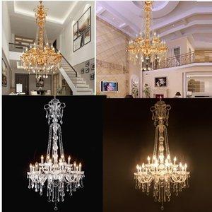 2020 Longa Stair candelabro de cristal Grande Foyer Luz Moderno Moda Sala de jantar Hall Complex lustre Staircase Lighting