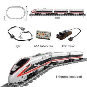 Azionato Fit Technic serie del treno Electric City Train Set con Pista Mini figure educative Building Blocks giocattoli per i bambini S200112