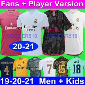 2020 2021 Real Madrid futbol formaları Hayranları + Oyuncu sürümü RODRYGO 4TH EA DÖRT KİTLER CARVAJAL TEHLİKE futbol formaları SERGIO RAMOS COURTOIS VINICIUS JR. JAMES JOVIĆ BALE