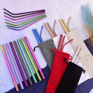 Stainless Steel Straw Set 12 Colors Metal Reusable Straight Bent Drinking Straw With Case Cleaning Brush 5pcs set OOA7633-8