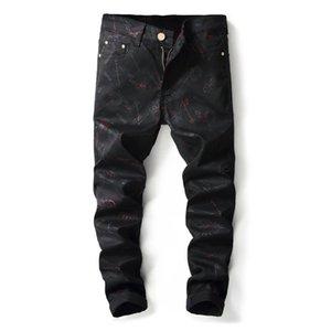 Yeni Moda Erkek Slim Fit Düz Günlük Pantolon Harf Erkekler Siyah Kot Stretch Avrupa Tarzı Nightclub Skinny Denim Pantolon yazdır