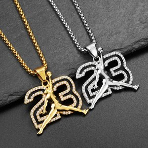 Diamond NO.23 Necklaces Hip Hop Men's and Women's Pendants Outdoor Nightclub Street Dance Party Hipster Must Accessories