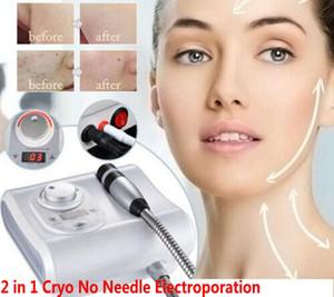Portable 2 in 1 Cryo No Needle Electroporation Meso Mesotherapy Cool Facial Anti Aging Skin Care Beauty Machine