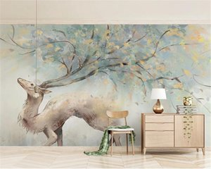 Custom 3d Animal Wallpaper Nordic Simple Elk Branch Antler Home Decor Living Room Bedroom Wallcovering HD Wallpaper