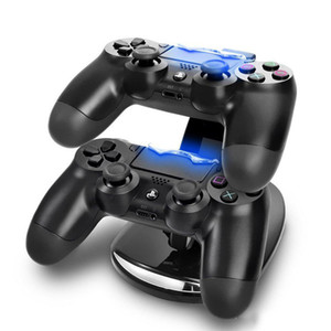 DUAL جديد وصول LED USB ChargeDock الإرساء محطة مهد حامل لاسلكي سوني بلاي ستيشن 4 PS4 تحكم لعبة شاحن