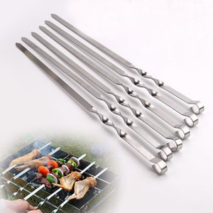 19.68'' 50cm Stainless steel Barbecue Skewers BBQ Grill Set Long BBQ Forks set Wide Resuable Shish Kabob Sticks BBQ Accessories