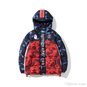 Casual Giacca con cappuccio spessore allentato Camo nuovi uomini di arrivo Donne Blu Rosso Camo Splice cappotto del rivestimento degli uomini