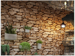 Retro 3D three-dimensional stone pattern stone stone wallpaper coffee shop bar living room brick pattern wallpaper