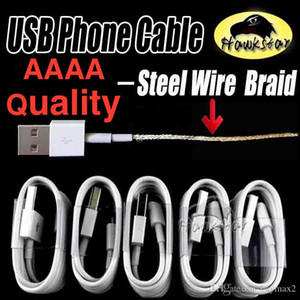 AAAA + QUALITY 1M 3Ft Micro USB Cable Sync Data Cable Charging Cords Charger Line With Retail Box For Galaxy S6 S7