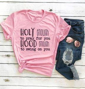 Moda-Engraçado Slogan Cristão T Santo o Suficiente para Rezar para você T-Shirt Gráfico Do Vintage Vermelho roupas citação Jesus amante menina Tops camisetas