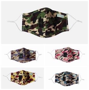 Camuflaje de la mascarilla reutilizable lavable a prueba de viento anti-vaho de oreja ajustable correas Máscaras Máscaras Drink Straw Boca Cara 5styles RRA3268