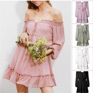 Yeni Satış Bayan Yaz Boyun Elbise Şifon Uzun Kollu Katı Renk Casual Yüksek Bel Elbise Kadınlar SunDress Slash