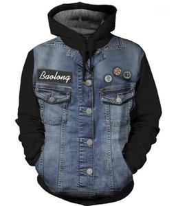 Panelled Color Long Sleeve Drawstring Loose Hoodies Hip Hop Teenagers Hoodie Mens Designer Hoodies Fashion 3D Printed