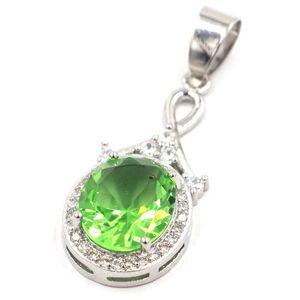 37x14mm Hot Sell Topaze Mystic arc-feu vert Grenat Tsavorite CZ cadeau 925 pendentif en argent