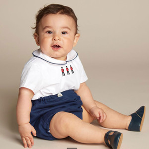 INS Baby Boys outfits toddler kids soldiers embroidered lapel short sleeve shirt+shorts 2pcs sets summer new kids cotton outfit A2116