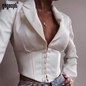 Gagaopt Укороченные топы с длинным рукавом Женщины Сексуальный топ с отложным воротником Дамы Белый Bodycon Blusas