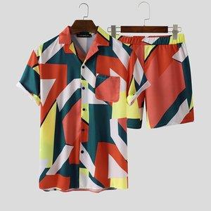 2020 Hombre Impresión vintage Trajes hawaianos Hombres Suelos de verano Sueltos de manga corta Cámaras Cámaras Pantalones cortos Elásticos Trajes de moda S-3XL Incerun