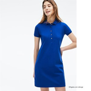 Womens Summer crocodile Dress Fashion 100% Cotton Shirt Dresses Casual Polo Clothing A-Line Skirt Fresh Sweet Apparel high quality
