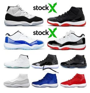 New Retro Bred Metallic Silver Space Jam Concord Basketball Shoes Men Women 11s Cap And Gown Gym Red Nakeskin