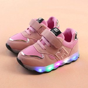 Children LED Sneakers Boys Girls Mesh Breathable Sports Shoes Flats Fashion Light Up Luminous Running Shoes Kids Outdoor Sneaker