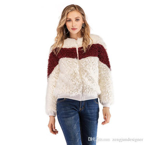 Faux Fur Crew Neck Long Sleeve Warm Style Female Clothing Solid Color Zipper Casual Apparel Womens Winter Designer