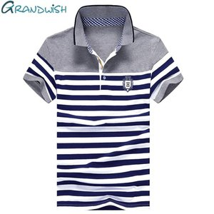 Grandwish Stripe Polo Shirts Mens Slim Fit Short Sleeve Striped Polo Shirts for Men Summer Turn -Down Collar Homme Polos Well