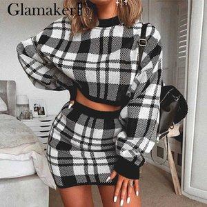 Glamaker Knitted plaid two piece suit sexy dress Women autumn elegant mini short dress Winter long sleeve crop sweater