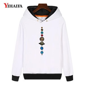 YIHAIFA mujeres camiseta de Kpop Harajuku Fleece con capucha Tierra Luna Planeta Impreso jersey sudadera gruesa capa del invierno Tops