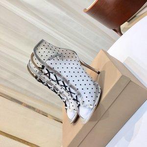 Натуральная Кожа Лоскутное Сетка Женской Обуви 2020 Новая Весна Лето Ботильоны Мода Зашнуровать Заглянуть Ног Стилет Каблук Пинетки