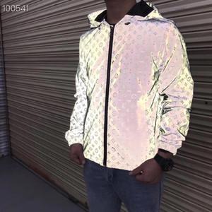 Itália Novos Designers de Moda jaqueta masculina com jaqueta de letra reflexiva impressão blusão hooded roupas masculinas da marca de manga comprida