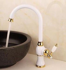 Bad Becken Wasserhahn mit Einloch-Einhandgriff, gegrillte weiße / roségoldene Farbspüle Wasserhahn / Badezimmer Multifunktionsschlüssel