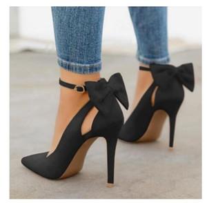 Nuevas mujeres del arco zapatos de tacón alto bombea las bombas del estilete atractivo partido de la manera en punta zapatos de las señoras de la boda