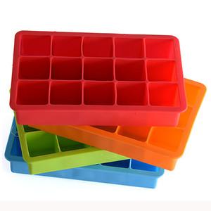 Silicone Ice Moldes 15 Malha portátil Cube Praça Chocolate Doce Jelly Mold DIY Ice Cube Mold Quadrado Silicone Ice Tray Fruit Malha