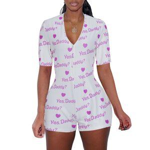 Verão Shorts Jumpsuit Mulheres Pijamas 2020 Sexy profundo decote em V Digital impressa de manga curta botão apertado Bodysuit Cy6037
