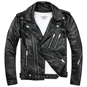 Mens Black Biker Giacche in pelle Cappotti Doppia diagonale Zipper Cowhide Slim Fit Short Moto Cappotti da moto Top maschili
