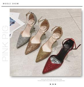 2020 yeni bayanlar yüksek topuklu sivri ayakkabılar kaymaz Nightclub pul Baotou yüksek topuklu sandaletler 8.5M