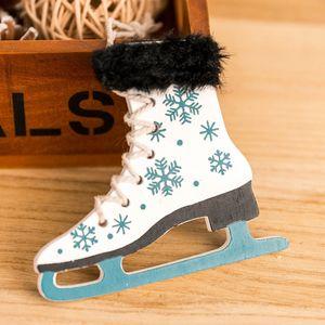 New1PCWooden Schlittschuhe Schuhe mit Glocken Weihnachten Anhänger Weihnachtsbaum Anhänger Weihnachten Winter Holiday Ornaments Hanging-Drop