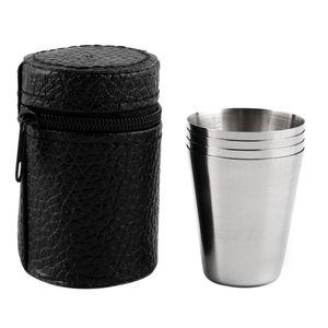 30ML 70ML 180ML taza de la taza que acampa del acero inoxidable que acampa al aire libre que camina plegable taza portátil de la cerveza del té del té