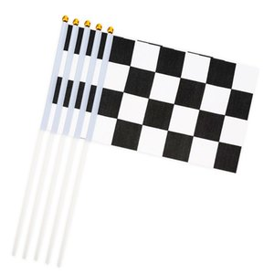 Racing Black and white grid Hand Signal Flags Chequered Checkered hand wave flags 14x21cm banner With flagpole Festival Decoration