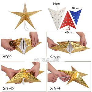 30CM étoile à cinq branches de Noël Pendant Party de Noël Hanging Pentagram Abat-jour de Noël Arbre de Noël Accueil Décorations