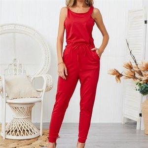 Cep Bodysuit ile Kadın Giyim Sleevelees Bind Katı Tasarımcı Düzenli Tulumlar Şeker Renk Moda Tam Boy